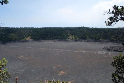The Kilauea Iki Crater. In 1959 this whole crater floor was a bubbling lake of molten lava - now the hardened surface makes for a good hike across the crater