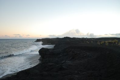 Hiking towards the ocean entry - where flowing lava reach the sea