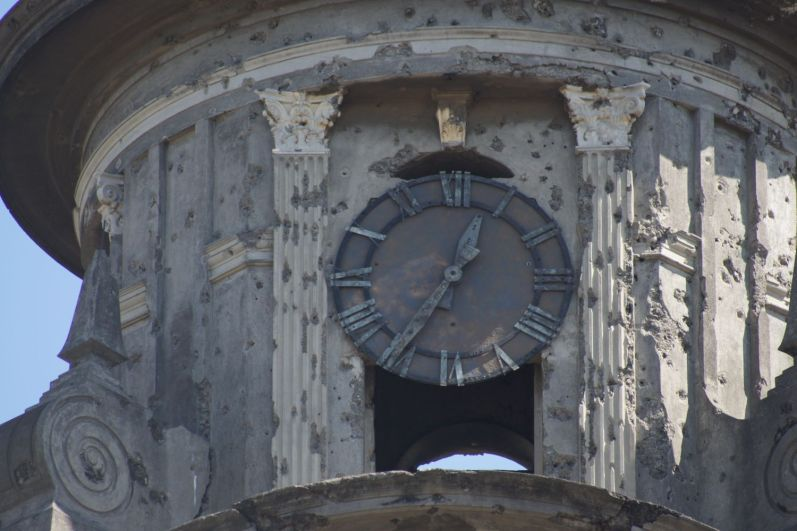 The clock on the cathedral stopped at 12.36, the time of the massive earthquake in 1972