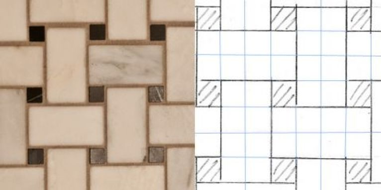 tile basketweave and pattern on graph paper