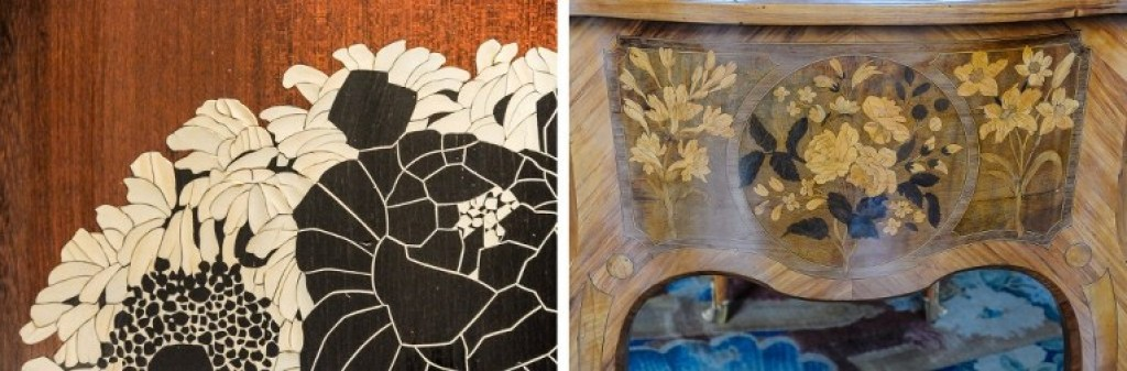 A side-by-side look at the marquetry styles