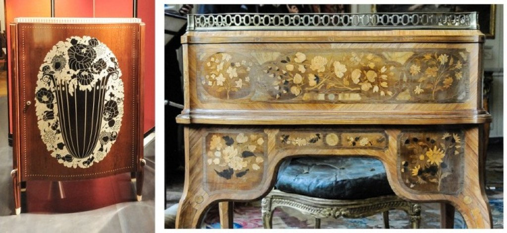 Ruhlmann's Cabinet D'Etat on the left, vs. Oeben's Secretaire a Cylindre on the right.