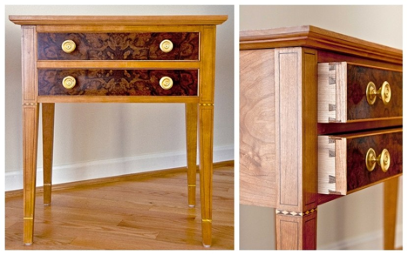 Federal Hall Table | Bedside tables in the Federal Style | Two Drawer End Table | Custom Walnut Burl with Inlay | Charlottesville custom furniture | see more at www.hellerandhellerfurniture.com