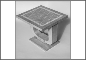 Ruhlmann-inspired end table in silver ripple sycamore and holly