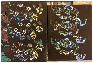 Painting in wood | Layoung out cut marquetry pieces | See more at www.hellerandhellerfurniture.com