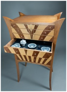 Cherry Cabinet of Curiosities in an Art Deco Style | Brass inlay | Heller and Heller Furniture