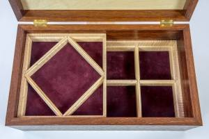 art nouveau jewelry box with burgundy velvet lining