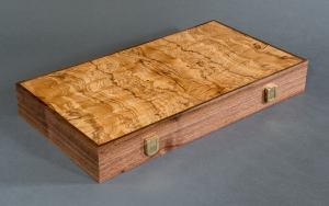 Backgammon Board in Burl Veneer by Heller and Heller Furniture