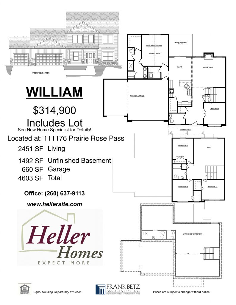 Heller Homes' handout for 69 Prairie Meadows