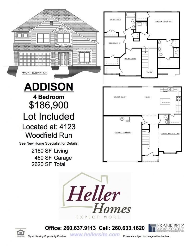 Heller Homes Handout for 13 Woodfield Addison Home