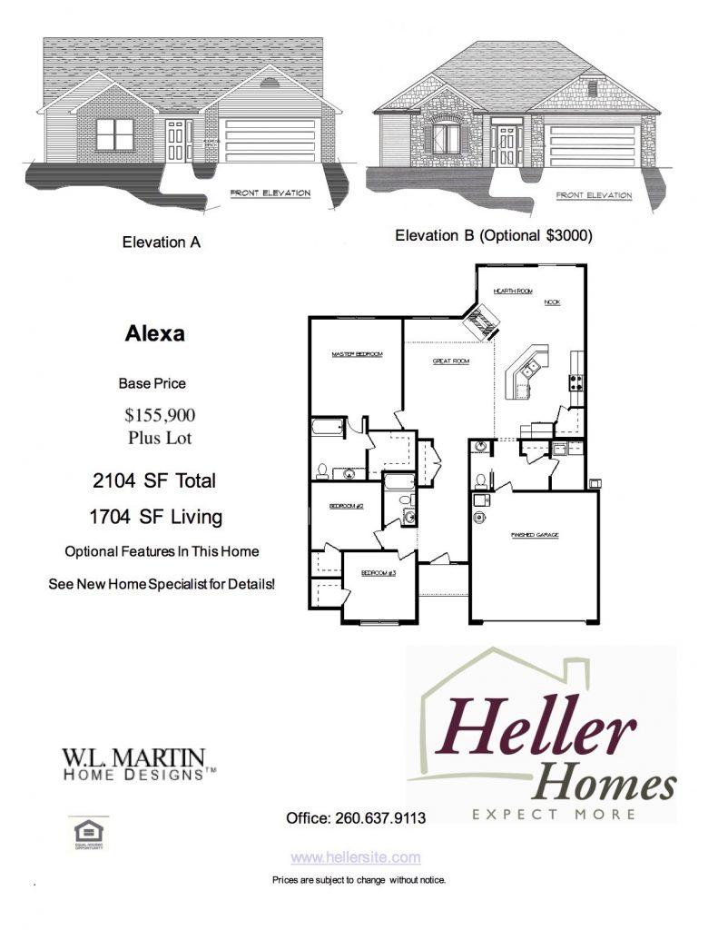 Alexa Handout - Heller Homes Alexa Floor Plan Handout