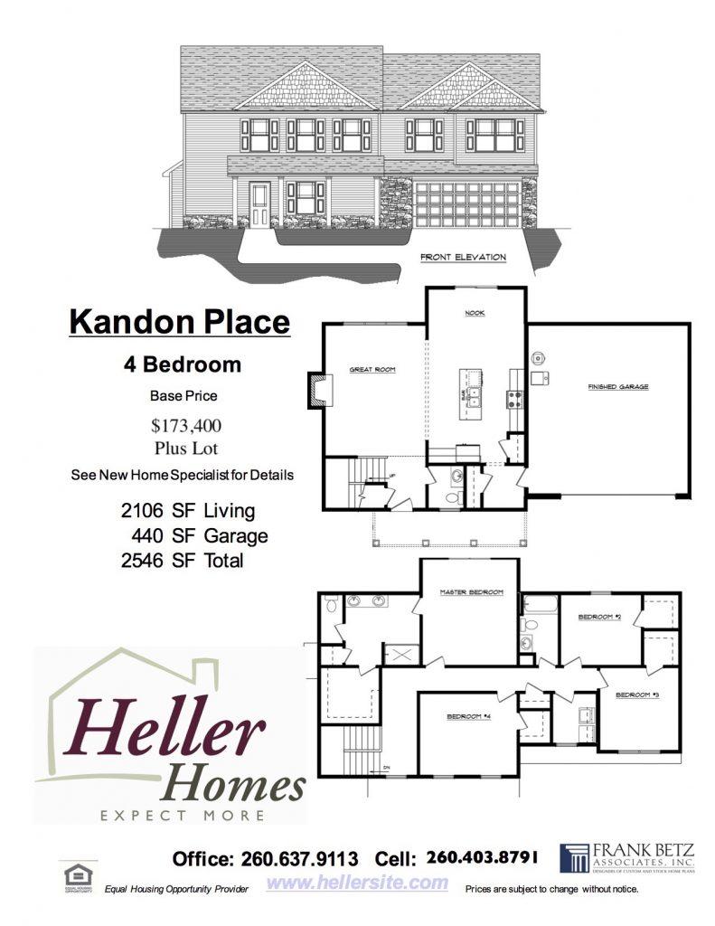 Kandon Place Handout - Heller Homes Kandon Place Floor Plan Handout