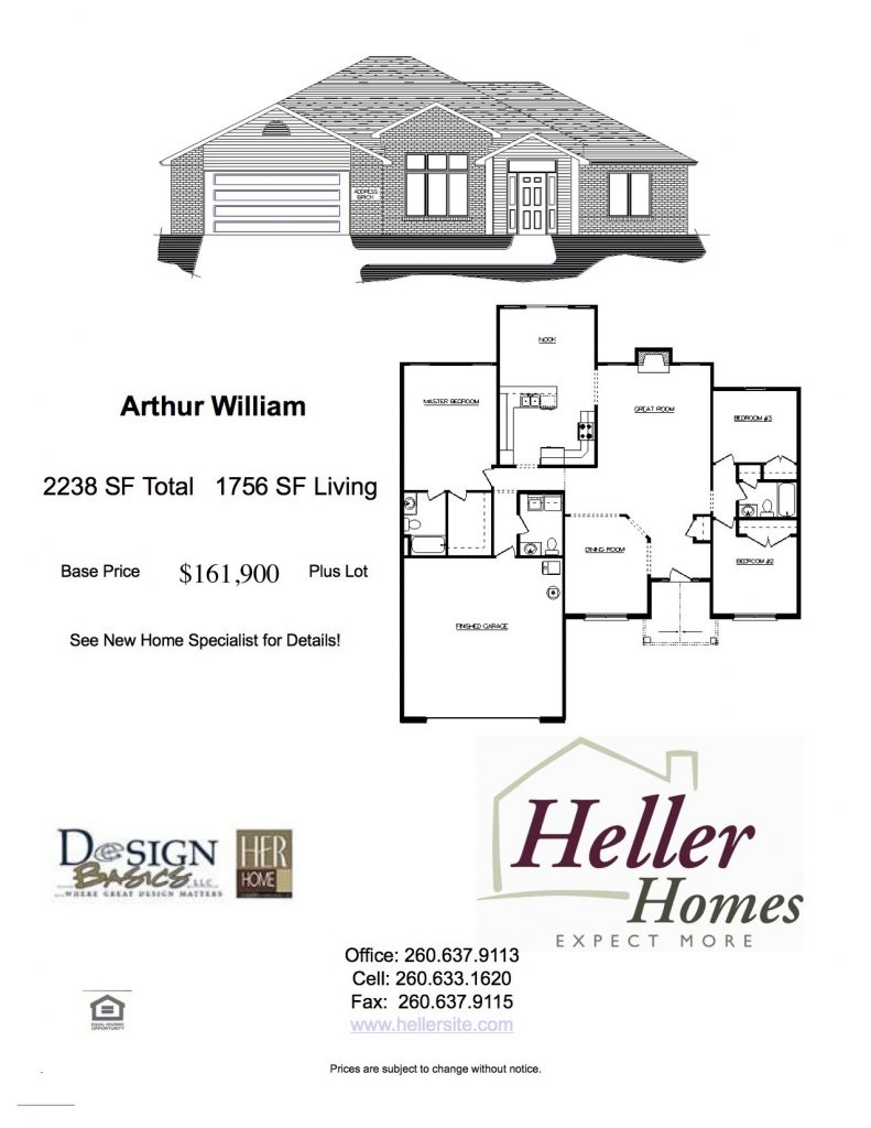 Arthur William Handout - Heller Homes Arthur William Floor Plan Handout