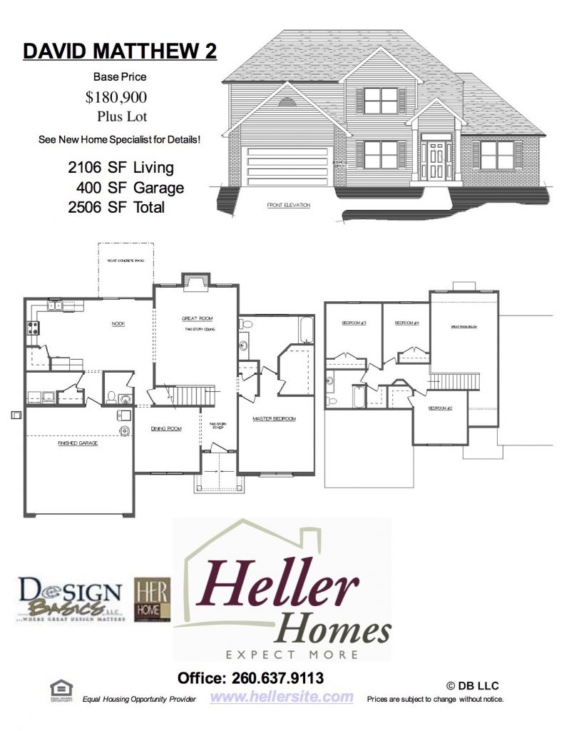 David Matthew 2 Handout - Heller Homes David Matthew 2 Floor Plan Handout