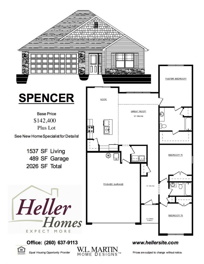 Spencer Handout - Heller Homes Spencer Floor Plan Handout