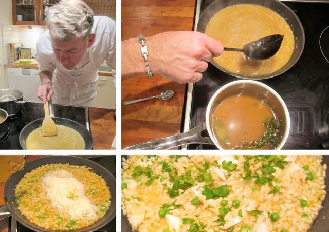 Erik jobber forsiktig med risottoen. Ikke røre, bare stryke. Øse for øse med kraft må til. Parmesan røres forsiktig inn sammen litt pepper. Kolje og erter i risottoen helt til slutt.