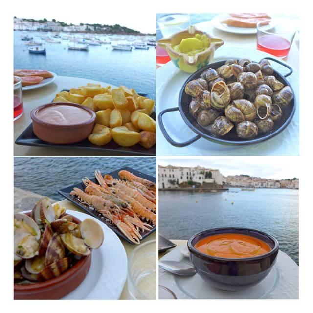 L'Estable. En av veteranene i byen. Nydelige patatas bravas, snegler i salt og pepper (nydelig!), sjøkreps, skjell og gazpacho