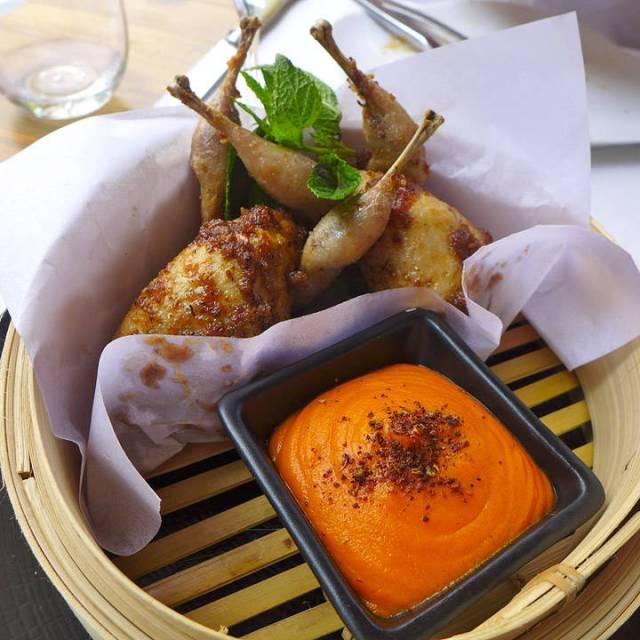 Vaklene vi hadde i fjor. Penslet med kardemomme og servert med søtpotetkrem med appelsin og lakris.