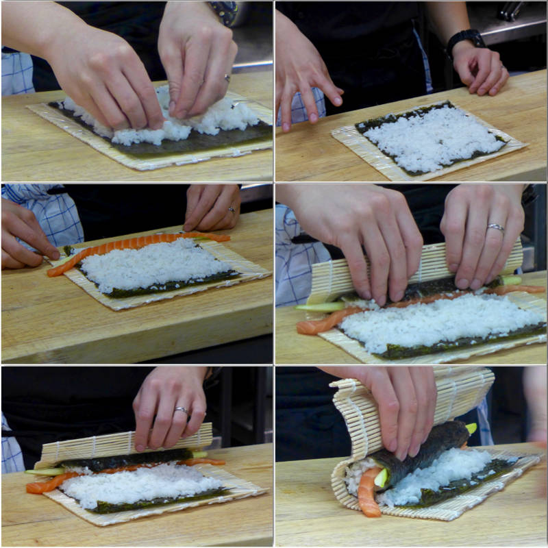 Fordel risen og la en stripe på noriarket funger som limekant. Legg på det du liker av ingredienser og rull med jevnt trykk.