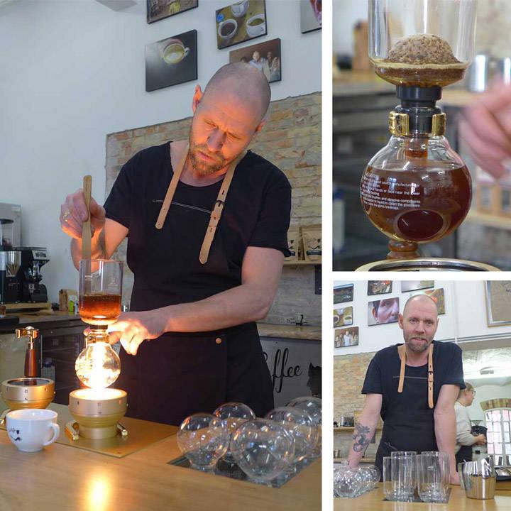 Siste del av kaffebryggingen er i gang.