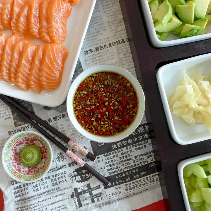 Deilig dressing til sashimi-middagen.