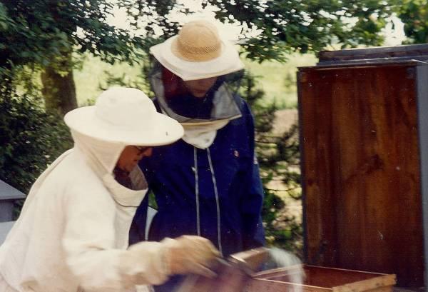 Morfar i birøkterutstyr. Bildet er fra 1989, to år før morfar døde. Takk til Per Boyesen for bildet.