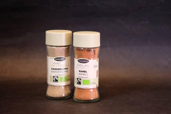 Økologiske krydder fra Santa Maria. Se etter de grønne korkene.