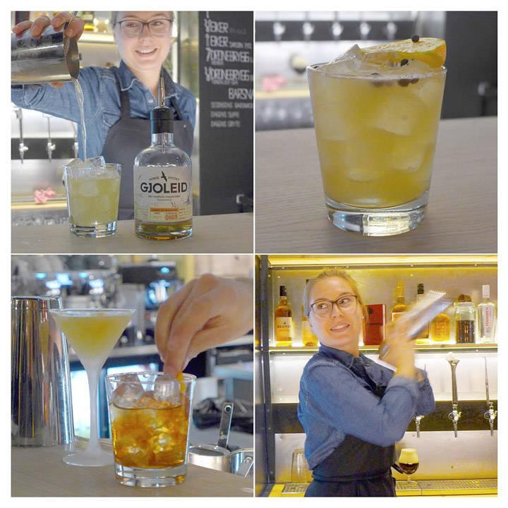 Louise Eriksson blander drinker til oss. Her en drink med norsk whiskey i drinken «Grøne eple er betre enn inkje»