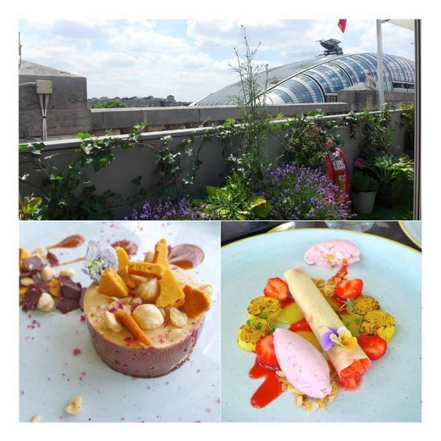 Utsikt utover Londons hustak. To eksepsjonelle desserter. Vakre og veldig gode.