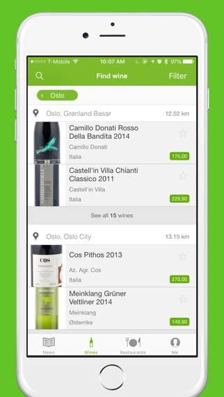 Du får info om vinen, pris og på hvilket vinmonopol vinen finnes.