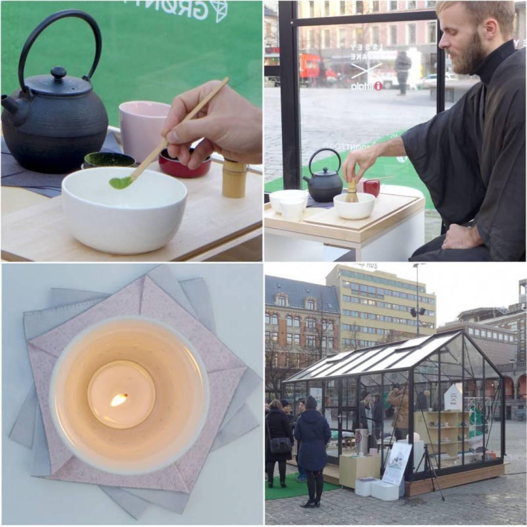 Håkon lager te. iittala-huset på Yongstorget  der lanseringen fant sted.