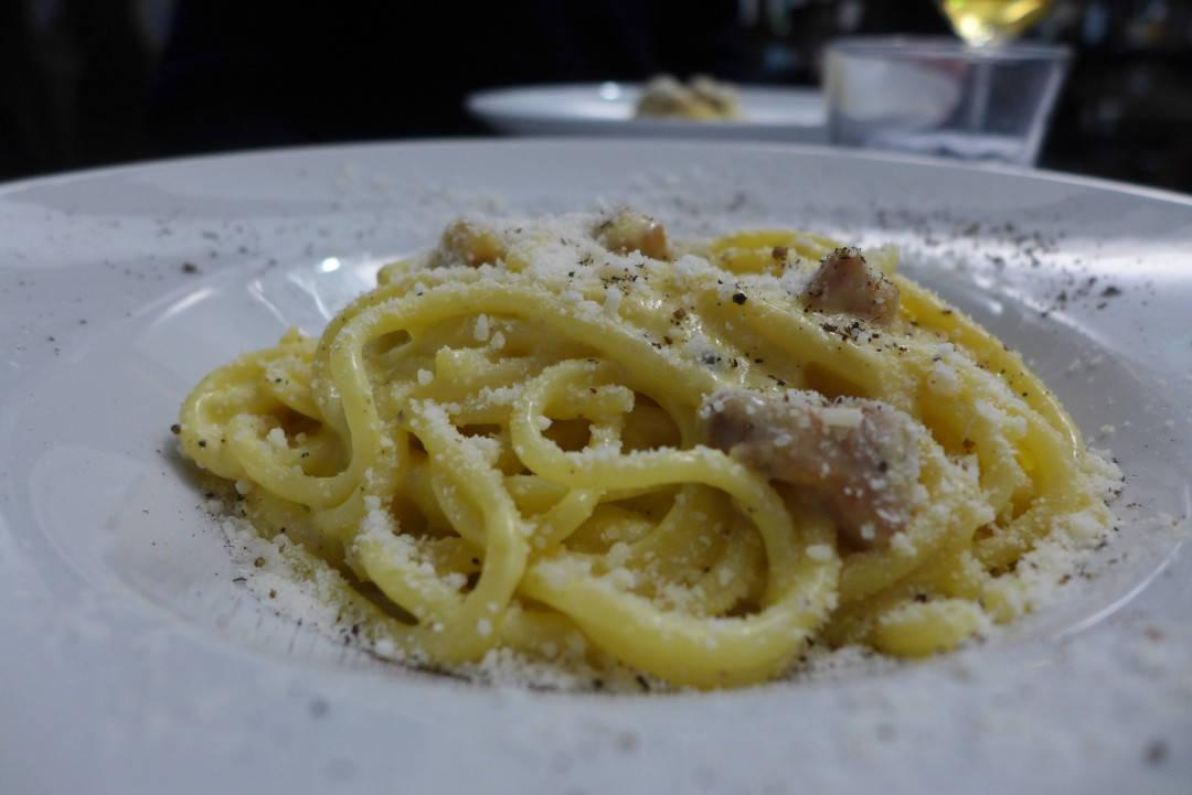 Pasta carbonara på Ristorante Roscioli. Foto: Helle Øder Valebrokk
