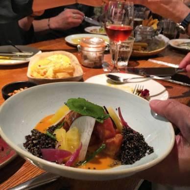 Yana Ceviche: sustainable yellowfin tuna, rocoto tiger's milk, pickled pineapple, black quinoa