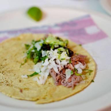 Taco barbacoa med lammeinnvoller.