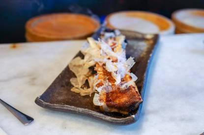 glasert margbein med Katsuobushi