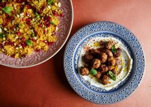 Persisk ris og valnøtt- og lammeboller