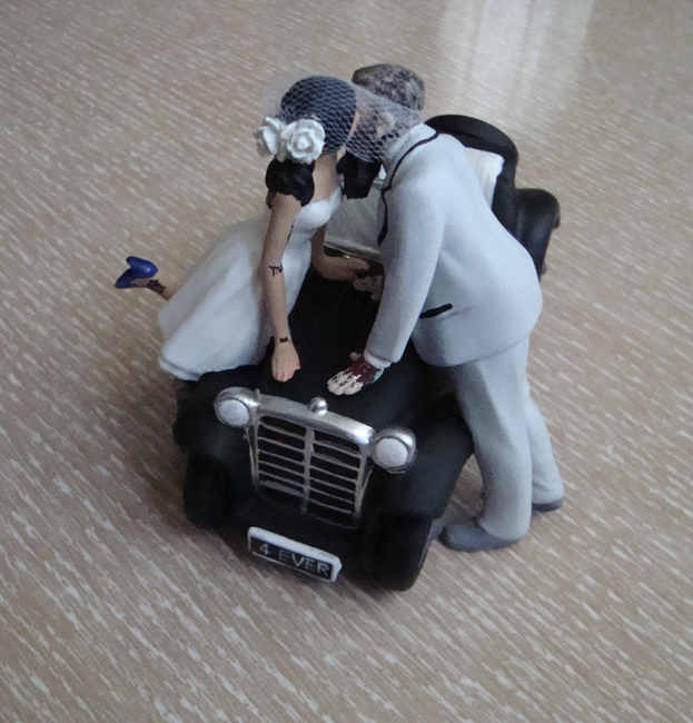 Tattooed Car Wedding Cake Topper by erin