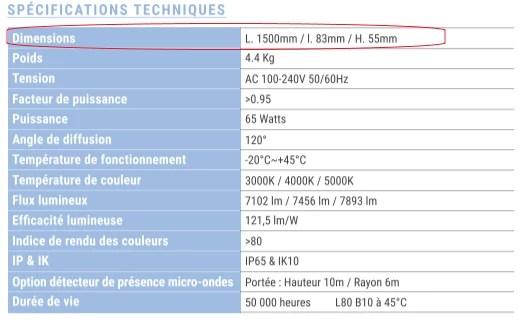 Les dimensions d'une réglette LED