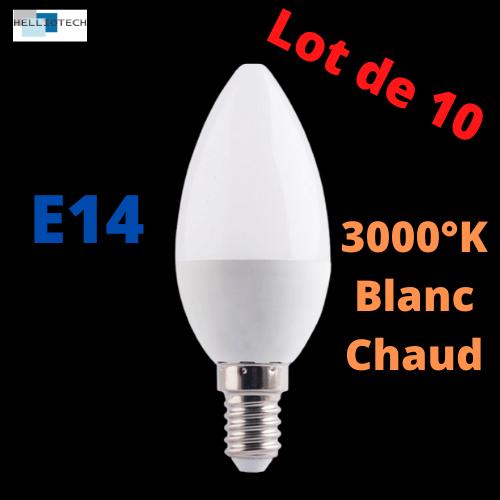 Ampoule LED E14 6W 3000k LOT DE 10
