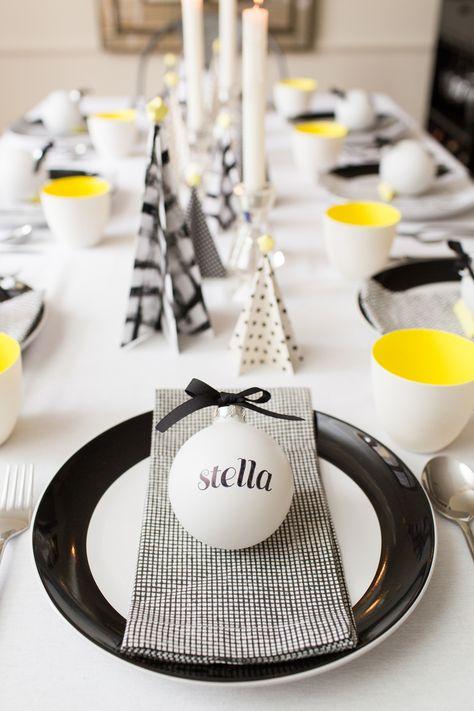 des idées pour une décoration de noël en noir et blanc