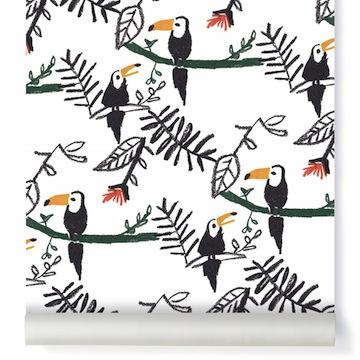 Papier peint toucans //Hëllø Blogzine blog deco & lifestyle www.hello-hello.fr #tropical #tropicool #toucan #papierpeint #wallpaper
