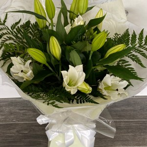Simple White Oriental Lilies Flower Bouquet
