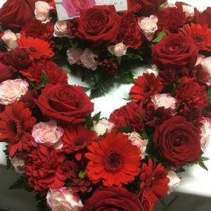Loose Open Heart Wreath Funeral Flowers
