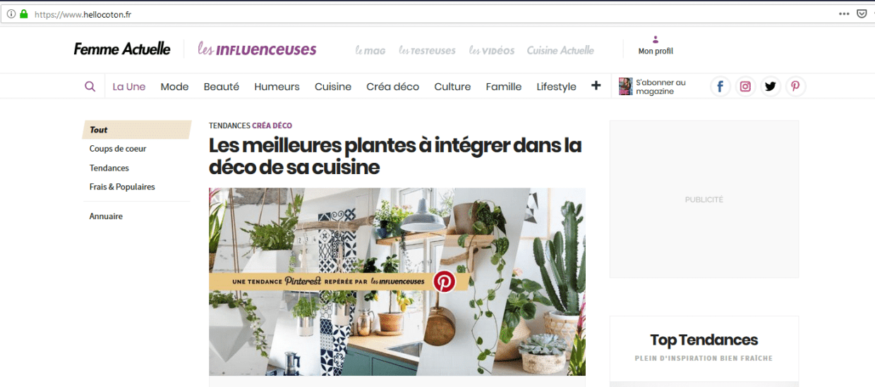 Capture d'écran du 19 mars 2019 du site hellocoton.fr - Marketing d'Influence