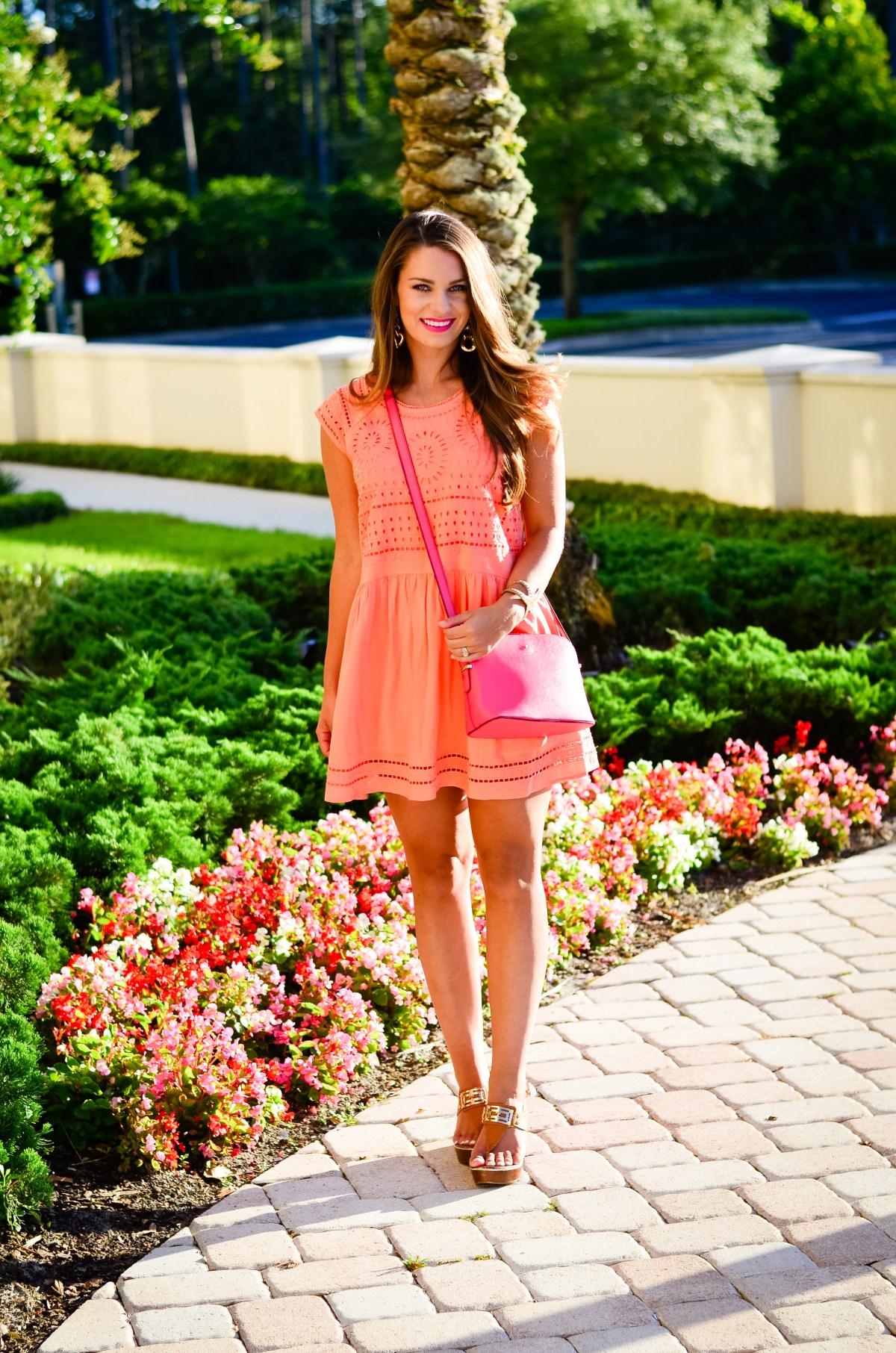 coral crochet dress-13
