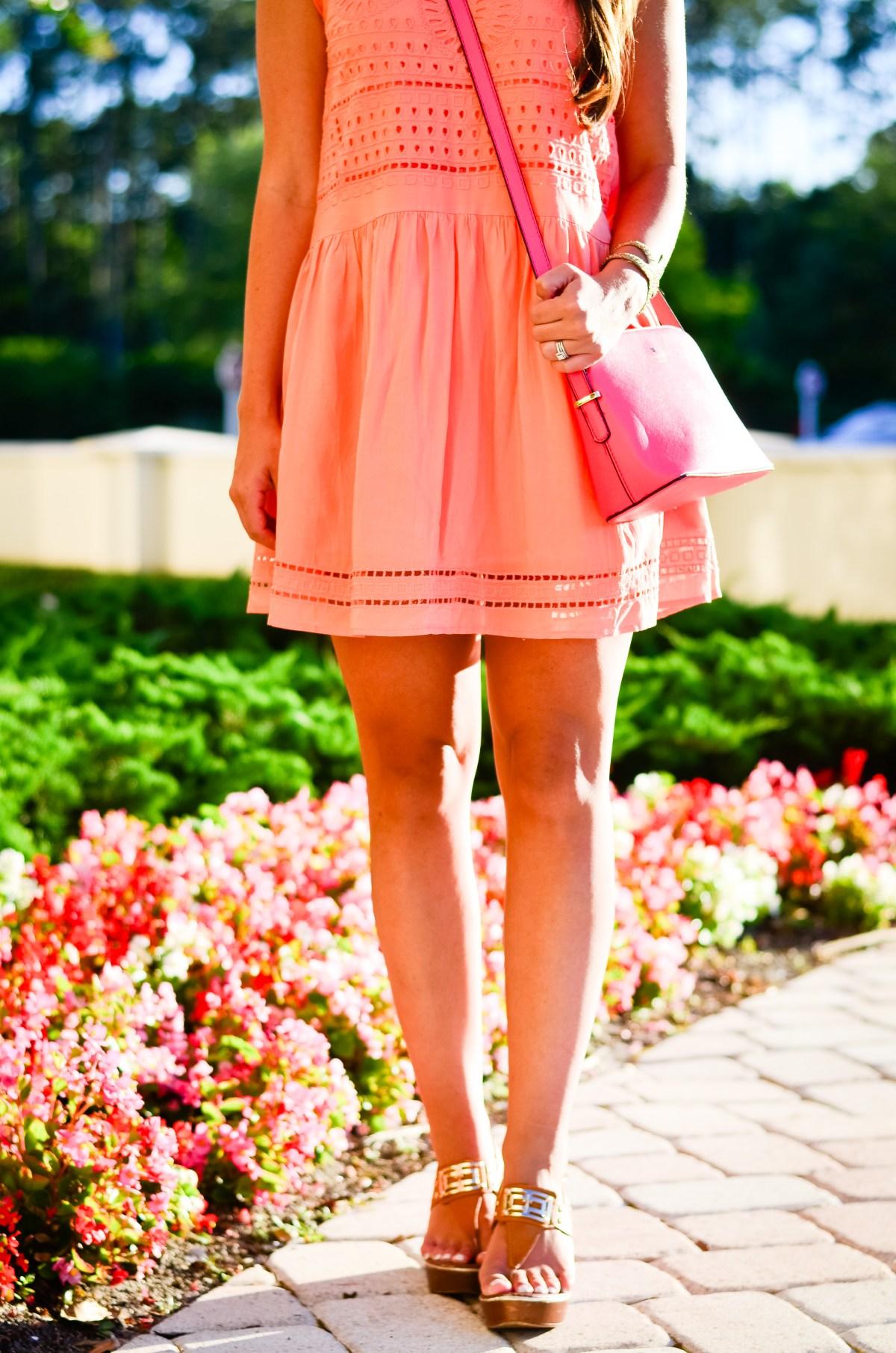 coral crochet dress-23