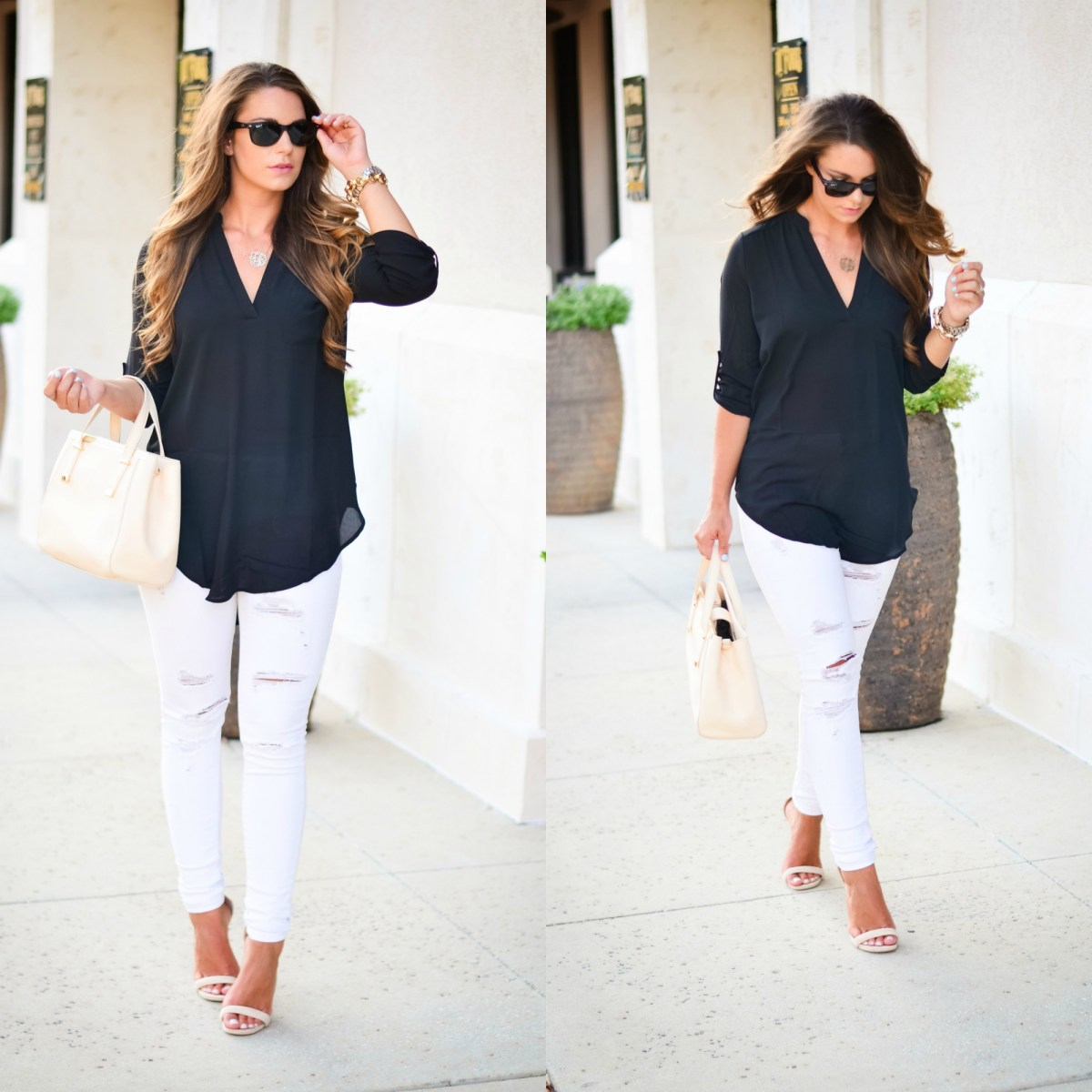 black tunic white jeans Aubrey Alley