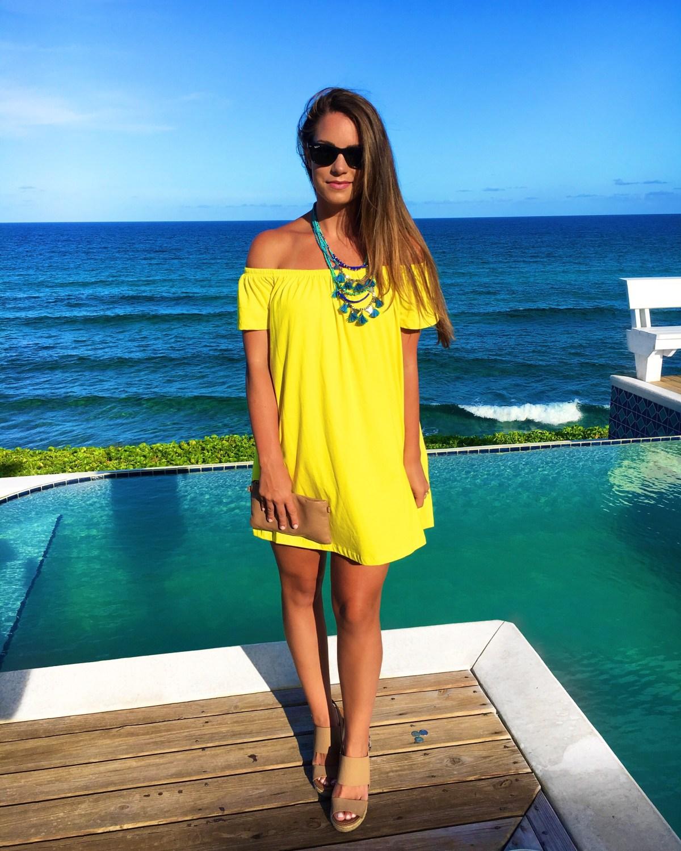 Yellow Dress Poolside Aubrey Alley