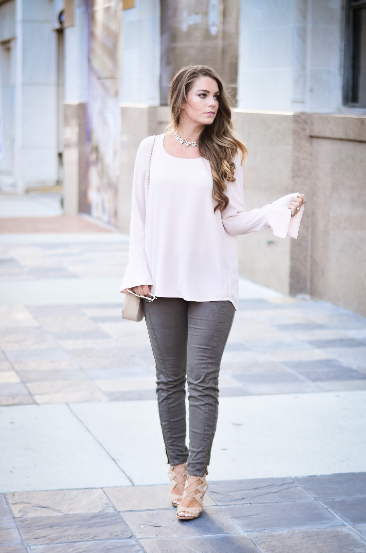 Pink bell sleeve shirt hello alley-5