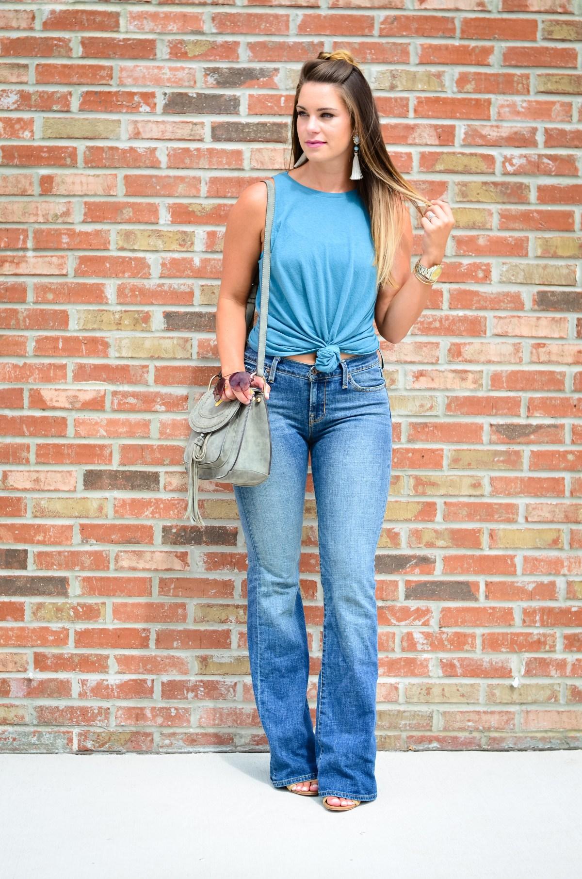 flare jeans blue tank -1